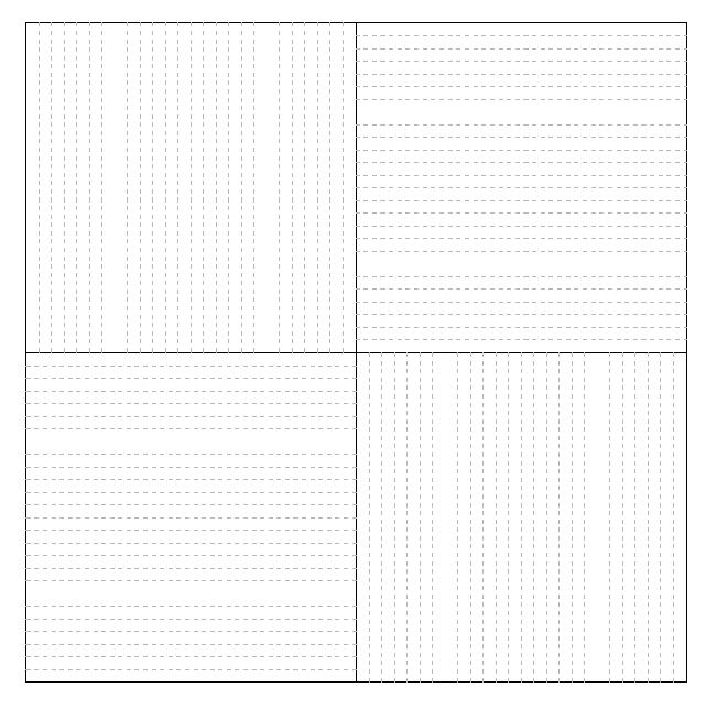 kontur - pannelli diffusori alternati a gruppi di 2x2